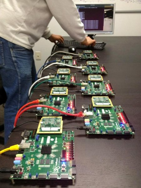 Photo of an 8-way cluster of Parallella prototypes